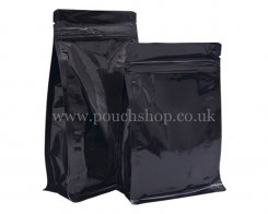 Flat Bottom Pouch with Normal Zipper and Valve Shiny Black