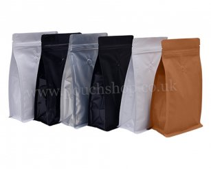 Flat Bottom Pouch with Normal Zipper and Valve