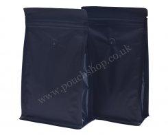 Flat Bottom Pouch with Normal Zipper and Valve Matt Black