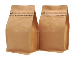 Flat Bottom Pouch with Pocket Zipper and Valve Kraft