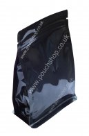 Flat Bottom Pouch with Zipper Shiny Black