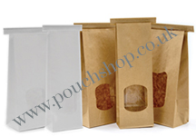 Block Bottomed Paper Tin Tie Bags with Window