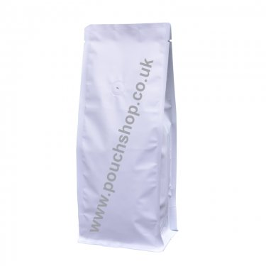 Flat Bottom Pouch with valve Matt White