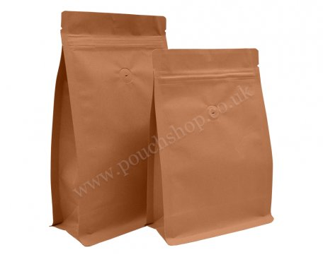 Flat Bottom Pouch with Normal Zipper and Valve Kraft