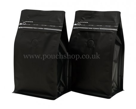 NEW SIZE Flat Bottom Pouch with Pocket Zipper and Valve Matt Black